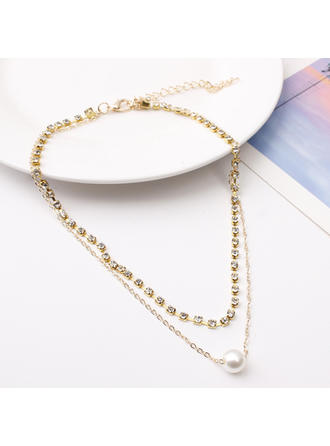 frumos Aliaj rhinestones Perle de imitație cu Stras Femei colier de moda (Sold in a single piece)