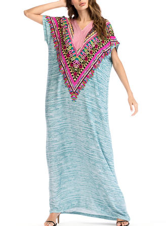 Embroidery V-neck Maxi Shift Dress