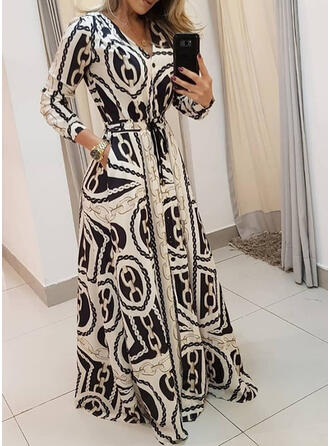 Print Long Sleeves A-line Vintage/Casual/Elegant Maxi Dresses