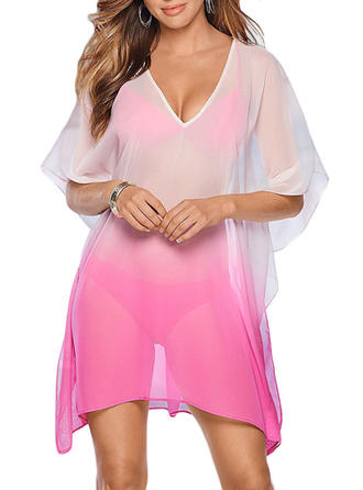 Long Sleeve V-neck Sexy Bohemian Cover-ups Swimsuits