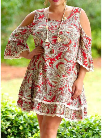 Plus Size Print 3/4 Sleeves Cold Shoulder Sleeve Flare Sleeve Shift Knee Length Casual Elegant Dress
