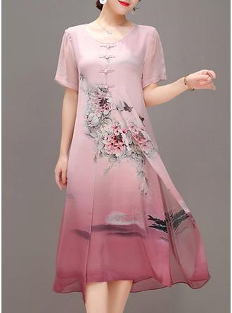 Wydrukować Kwiatowy Okrągły Dekolt Midi Sukienkę przesunąć