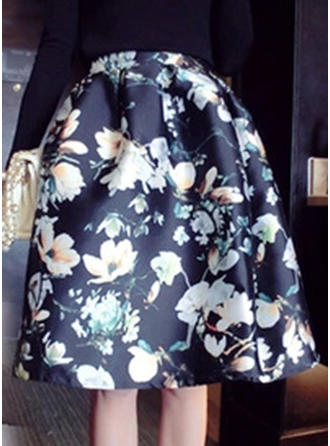 Polyester Floral Knee Length A-Line Skirts