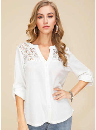 Solid Lace V neck Long Sleeves Button Up Casual Elegant Blouses