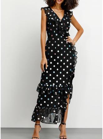 PolkaDot Sleeveless Sheath Party/Elegant Maxi Dresses