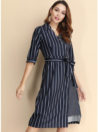 Striped 1/2 Sleeves A-line Knee Length Casual Dresses