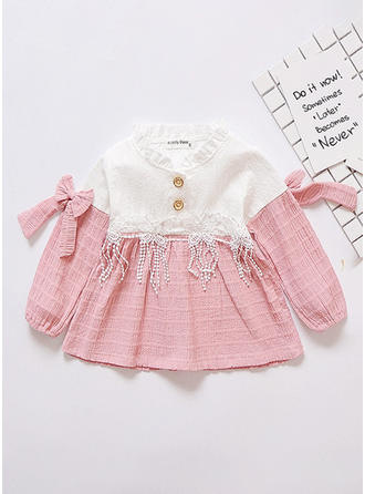 Girls Round Neck Patchwork Lace Bow Buttons Casual Cute Dress