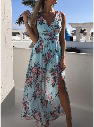 Blumen Ärmellos A-Linien Freizeit Midi Kleider