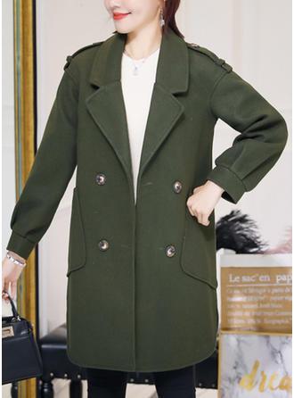 Polyester Coton Manches longues Couleur unie Manteaux en Tissu Mixte