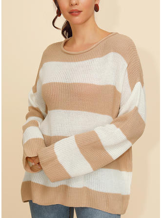 Striped Ribbed Round Neck Sweaters