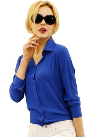 Chiffon Lapel Plain Long Sleeves Shirt Blouses
