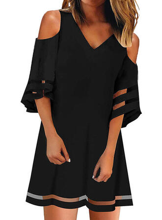 Solid 3/4 Sleeves/Cold Shoulder Sleeve A-line Above Knee Little Black/Casual/Elegant Dresses