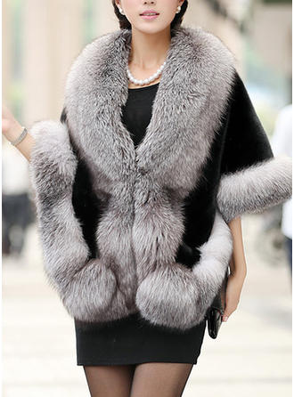 Faux Fur 3/4 Sleeves Plain Blend Coats
