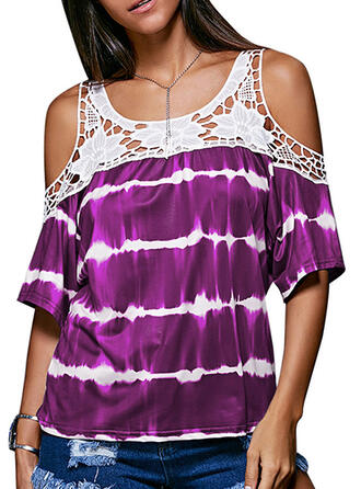Patchwork Striped Lace Cold Shoulder 1/2 Sleeves Casual T-shirts