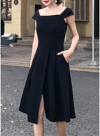 Solid Square Neck Knee Length Shift Dress