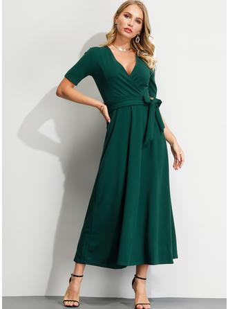 Solid Short Sleeves A-line Midi Elegant Dresses
