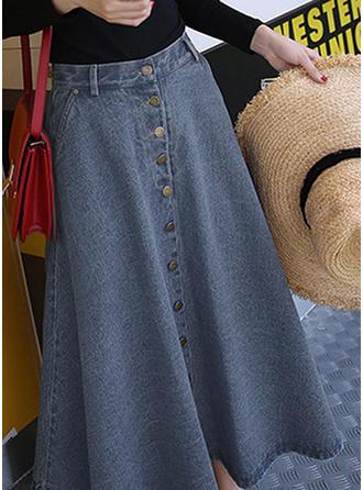 Juan Color sólido Maxi Faldas Demin