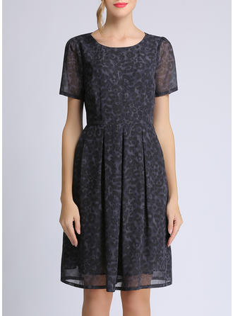 Animal Print Short Sleeves A-line Knee Length Casual Dresses