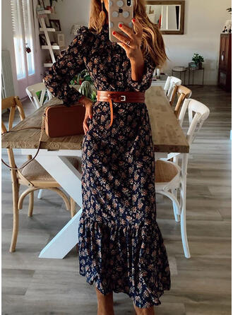 Print Long Sleeves Sheath Casual/Vacation Midi Dresses