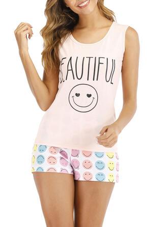 Cotton PolkaDot Round Neck Cartoon Short Sleeves Pyjama Set