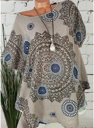 Cotton Blends Round Neck Print Short Sleeves Casual Blouses