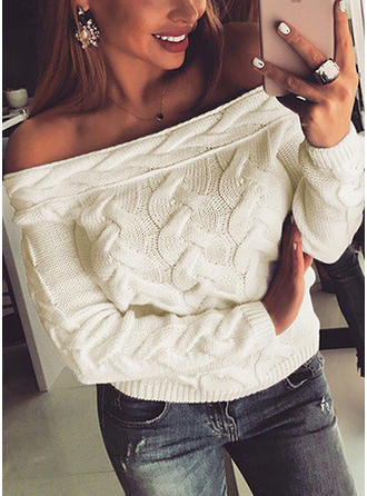 Solid Cable-knit Off the Shoulder Sweaters