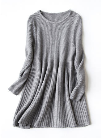 Knit Crew Neck Plain Sweater