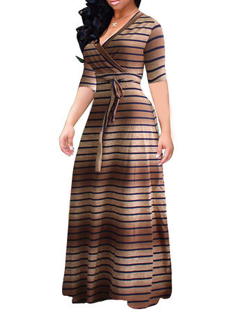 Print/Striped 1/2 Sleeves A-line Casual/Plus Size Maxi Dresses