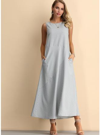 Striped Sleeveless Shift Midi Casual Dresses