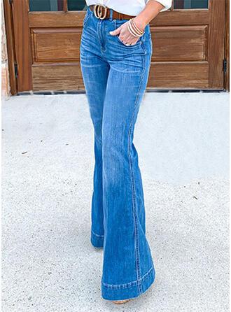 Kieszenie Marszczona Duży rozmiar Elegancki Dżinsy