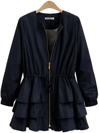 Mieszanki bawełniane Długie rękawy Jednolity kolor Slim Fit Płaszcze