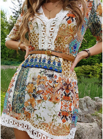 Lace/Print 1/2 Sleeves A-line Above Knee Casual/Boho/Vacation Dresses