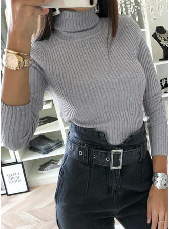 Solid Turtleneck Sweaters