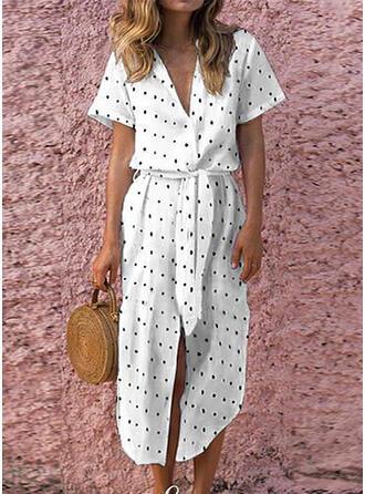 Groszki Krótkie rękawy W kształcie litery A Midi Casual/Wakacyjna Sukienki