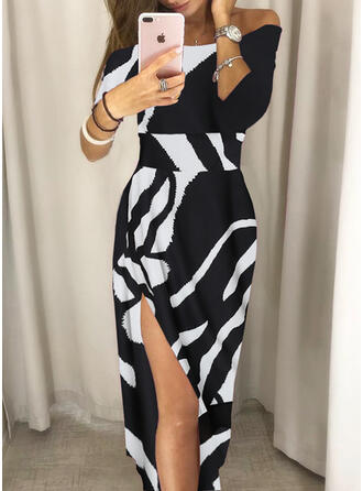 Print 3/4 Sleeves Sheath Asymmetrical Sexy/Party Dresses