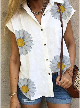 Print Floral Lapel Short Sleeves Button Up Casual Shirt Blouses
