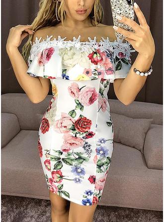 Krajka/Tisk/Květiny Krátké rukávy Přiléhavé Nad kolena Neformální Šaty
