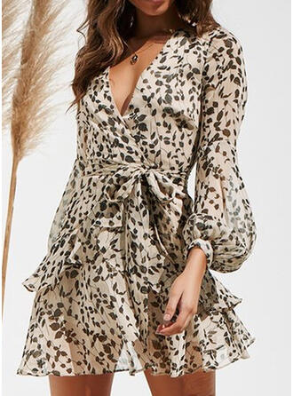 Print Long Sleeves/Lantern Sleeve A-line Above Knee Casual/Elegant Dresses