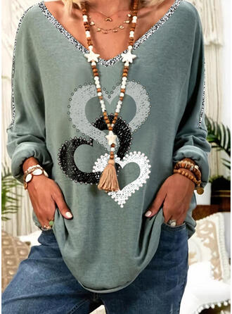 Print Beaded Heart V-Neck Long Sleeves Casual T-shirts