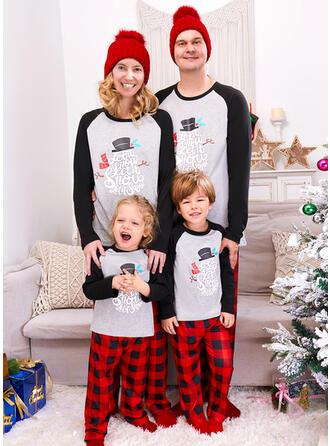 Blocchi di colore Tartan Lettera Stampa Famiglia Partita Di Natale Pajamas