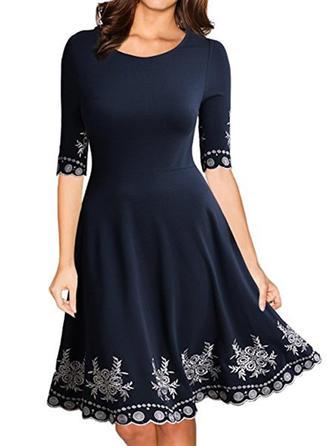 1/2 Sleeves A-line Knee Length Casual/Elegant Dresses