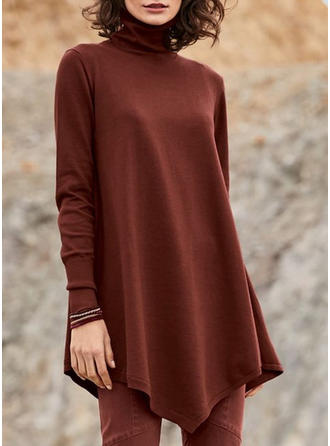Solid High Neck Long Sleeves Casual Elegant Knit Blouses