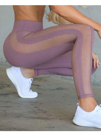 Solid Color Mesh Sports Leggings
