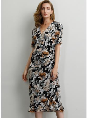 Impresión/Floral Manga Corta Cubierta Midi Casual/Elegante Vestidos