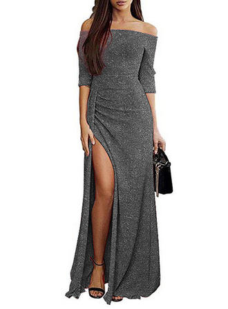 Solid 3/4 Sleeves Sheath Maxi Sexy/Party/Elegant Dresses