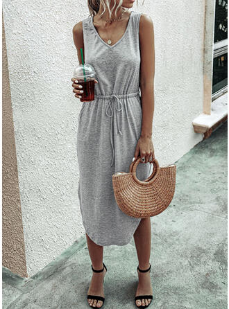 Solid Sleeveless Sheath Little Black/Casual/Vacation Midi Dresses