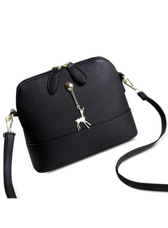 Kvinner stilig Shell Shape Elk anheng PU skinn søt crossbody bag