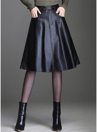 Leather/PU Plain Knee Length A-Line Skirts