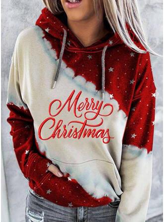 Print Color Block Figur Lommer Lange ærmer Jule sweatshirt