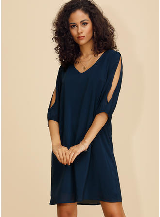 Solid 3/4 Sleeves/Split Sleeve Shift Above Knee Casual/Elegant Dresses
